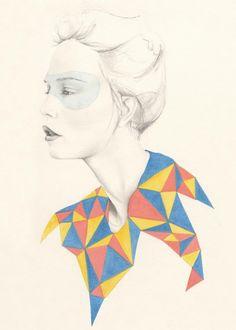 Emma Leonard, Melbourne artist. love the contrast of the bright triangle collar #illustration #EmmaLeonard #artist