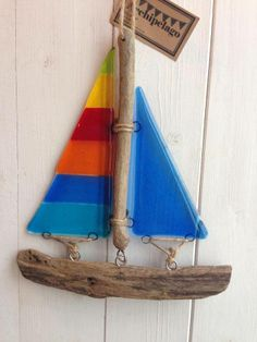 Fused Glass 'Rainbow' driftwood boat (light-catcher)