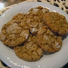 Amish Oatmeal Cookies Recipe Desserts with brown sugar, butter, eggs, vanilla, baking powder, baking soda, flour, quick-cooking oats, salt