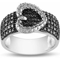 1/4 Carat T.W. Black Diamond Sterling Silver Five-Row Heart Ring