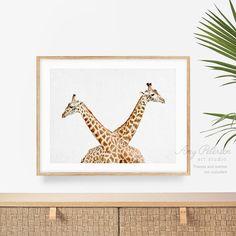 Giraffe Print The Twins Standing Together Safari   Etsy