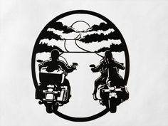 Sunset Motorcycle Riders  Metal Wall Art by SunsetMetalworks