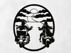 Sunset Motorcycle Riders  Metal Wall Art by SunsetMetalworks