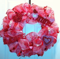 deco mesh wreath for Valentine's Day