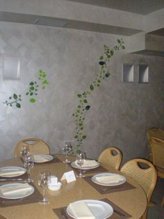 Maniatis restaurant | Stencil Art, Table Settings, Dining Table, Restaurant, Furniture, Home Decor, Twist Restaurant, Homemade Home Decor, Stenciling