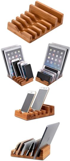DIY Phone Stand - Iphone Stand - Ideas of Iphone Stand - Wooden Multi Device Organizer Charging Station Dock Holder & iPhone SmartPhone Holder Stand Mount for iPhone and Other Cell Phone Desk Phone Holder, Iphone Holder, Smartphone Holder, Tablet Holder, Iphone S6 Plus, Iphone Phone, Wood Phone Stand, Cell Phone Stand, Wooden Charging Station