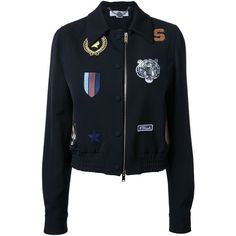 Stella McCartney cat patches bomber jacket ($2,480) ❤ liked on Polyvore featuring outerwear, jackets, black, long sleeve jacket, wool zip jacket, wool jacket, zip jacket and flight jacket