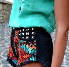 Greenish blue shirt with aztec patterened shorts!