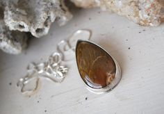 Petrified wood sterling silver pendant by CultivatedDreams on Etsy