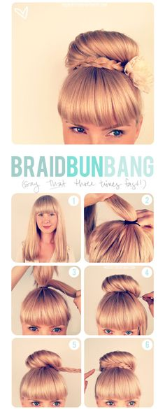 Step-by-step instructions on how to create this cute braided bun. Add some accessories to match with the theme!