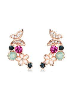 #AdoreWe #VIPme Earrings - Viennois Trendy 18K Rose Gold Crystal Flower Stud Earrings - AdoreWe.com