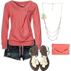 coral sweatshirt, short shorts, sandals with white ruffle flower, silver long necklace with white flower