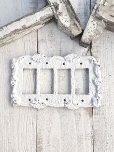 Metal Wall Decor Light Switch Cover Quad Rocker by CamillaCotton Switch Plate Covers, Light Switch Plates, Light Switch Covers, Wall Decor Lights, Metal Wall Decor, Ceramic Light, Shabby Chic Style, Plates On Wall, Shabby Chic