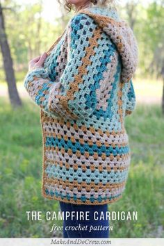 "Part it or not, two simple granny hexagons are the foundation of this free crochet hexagon sweater pattern. ""The Campfire Cardigan"" is made with Lion Brand New Basic 175 in Juniper, Cafe Au Lait, Thyme and Camel. Crochet Hoodie, Crochet Cardigan Pattern, Crochet Jacket, Crochet Patterns, Sweater Patterns, Crochet Ideas, Knitting Patterns, Crochet Projects, Sewing Patterns"