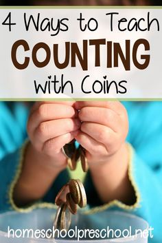 How to teach counting with coins. Four hands-on math activities for preschool and kindergarten kiddos. Make math fun again! Math Activities For Kids, Counting Activities, Math For Kids, Number Activities, Teaching Numbers, Teaching Math, Creative Teaching, Homeschool Math, Homeschooling