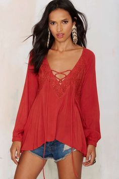 Rumours Lace Up Top - Rust | Shop Clothes at Nasty Gal!...and for the latest in trending accessories, visit Designs By Maral, on etsy ...http://etsy.com/shop/designsbymaral/