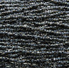 6/0 3 Cut 2 Tone Opaque Black & White Striped Picasso Czech Glass Seed Beads - 20 Inch Strand (DW228)
