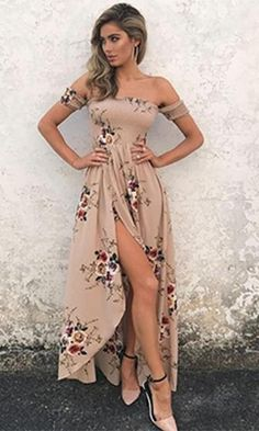 An allover floral print adds ultra-feminine style to this cross wrap high low maxi dress. The Daydream Diva maxi dress features a smocked bodice with short sleeves, an off the shoulder neckline, and a Sexy Maxi Dress, Boho Dress, Dress Skirt, Slit Dress, Backless Maxi Dresses, Romper Dress, Jacket Dress, Prom Dress, Short Beach Dresses