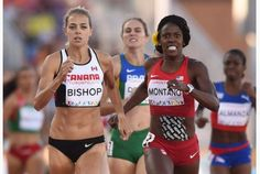 Melissa Bishop, left, of Canada competes with Alysia Montano, second right, of the U.S., Flavia De Lima, centre-background, of Brazil and Rose Mary Almanza, right, of Cuba in the women's 800-metre final during the 2015 Pan American Games in Toronto July 22. Bishop won gold, Montano took silver, De Lima made bronze, and Almanza placed fourth. JIM WATSON / AFP/GETTY IMAGES