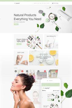 Simpleaf - Organic Cosmetics Store Shopify Theme - New Ideas Cosmetic Web, Cosmetic Design, Website Design Inspiration, Ecommerce Web Design, Ecommerce Store, Web Design Tips, Shops, Natural Cosmetics, Social Media Design