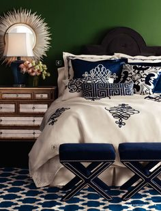 Blue and white bedroom.  I love this.  If only I didn't have a dog that thinks he should sleep on the bed:(