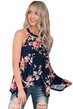 fc782aab4e Navy Floral Print Flowy Tank Top China Wholesale Clothing, Summer Shirts,  Summer Tank Tops