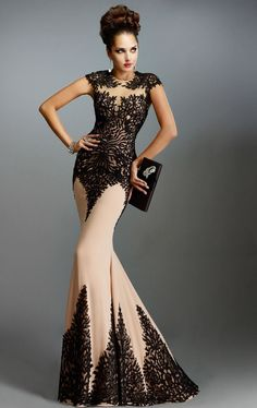 Janique Dresses Evening Wears 2016 Backless Champagne With Black Lace Appliques Prom Gowns Mermaid Long Sexy Mother Of the Bride Dress