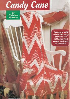 """Would be great as red and white """"Streak of Lightning"""" quilt pattern rif. Christmas Afghan Crochet Patterns - Large Chevron Candy Cane"""