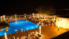Cascading micro lights on lamp posts & exposed bulb festoon lights. Mallorca Wedding 2016, lighting and production by Undercover Events´ sister company Velvet Music. Wedding planning by My Mallorca Wedding. Undercover Events, wedding & event planners in Mallorca.