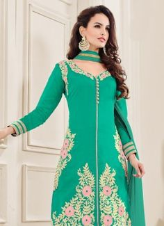 Trendy Aqua Green Coloured Unstitched #BuypartywearsalwarsuitsonlineIndia