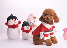 Yoption Stereo Santa Christmas Costumes with Hat Winter Clothes for Small Dog Puppy CatSize L * For more information, visit image link.
