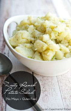 Zesty Ranch Potato Salad | CarriesExperimentalKitchen.com This potato salad made with russet potatoes, scallions, Hidden Valley Ranch Dressing packet, oil and vinegar makes a great addition to any picnic.   #glutenfree