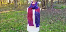 Color block scarf, Unisex scarf, Mens scarf, Women's scarf, Extra long scarf, Crochet scarf, Red scarf, Blue scarf, Birthday gift