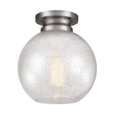 Silver mercury plating covers the spherical shade of this beautiful flush-mount fixture, while a band finished in brushed steel forms the collar. This light is ideal for your breakfast nook or hallway and approved for use in damp locations.