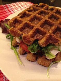 Zucchini Waffle Sandwiches, no grains or sugar.