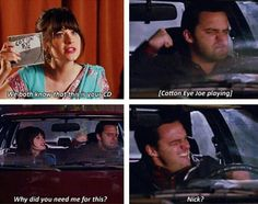 New girl. I love Nick and Jess together. Sadly, it's TV and I know it won't last.