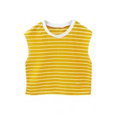 White Trim Sleeveless Stripe Crop T-Shirt (£24) ❤ liked on Polyvore featuring tops, t-shirts, crop tee, beige top, striped crop tee, striped tee and stripe t shirt