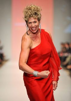 Silken Laumann wearing Linda Lundstrom, The Heart Truth Fashion Show 2010.