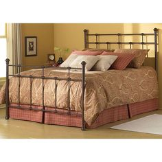 Add a lasting touch of elegance to your room with this sturdy, queen-size bed. The bed is made of steel and features a number of stylish castings. The rust-brown finish will not fade or chip due to the powder-coating process used to create the look.