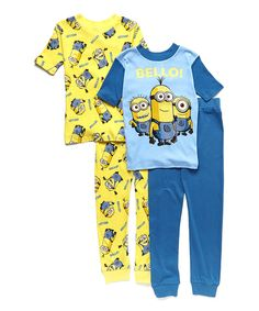 Look at this Yellow & Blue 'Bello' Pajama Set - Boys on #zulily today!