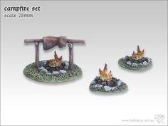 Das Set beinhaltet zwei Lagerfeuer und eine Grillstelle. Maßstab: 28-30mm http://onlineshop.kohli.de/fantasy-tabletop/bauteile-und-zubehoer/sonstiges/3359/lagerfeuer-set