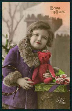 Deco Child Girl play Red Toy Doll Teddy Bear original old 1920s photo postcard