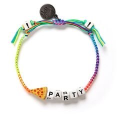 Venessa Arizaga 'Pizza Party' bracelet ($70) ❤ liked on Polyvore featuring jewelry, bracelets, fancy jewelry, venessa arizaga bracelet, braided bracelet, braid jewelry and party jewelry