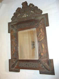 Napoleon Repousse 1870s Metal on Wood Antique Mirror Women with Pitcher Beveled