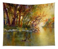 Autumn Landscape Tapestry featuring the painting River Rhine in Autumn by Sabina Von Arx Yellow Bathroom Decor, Wall Spaces, Wall Tapestry, Watercolor Paintings, The Incredibles, Autumn, River, Art Prints, Landscape
