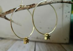 Items similar to Star Hoop Earrings, Gold Plated on Etsy Bangles, Bracelets, Gold Earrings, Plating, Jewellery, Stars, Unique Jewelry, Handmade Gifts, Etsy