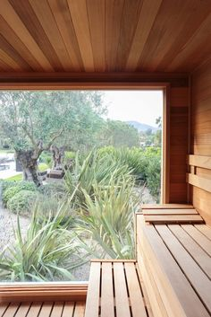 The home includes a custom-designed sauna that has views to the yard and beyond.