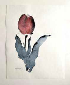 Tulip - Original Watercolor sketch painting. Contemporary floral water color art. Watercolour picture. Unusual present, wall art for home. by AlisaAdamsoneArt on Etsy https://www.etsy.com/listing/289862155/tulip-original-watercolor-sketch