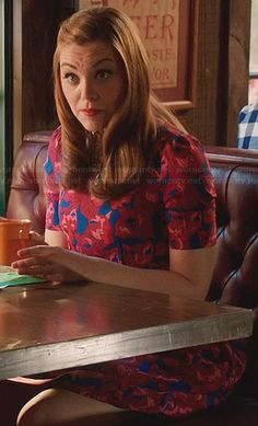 AnnaBeth's blue and red cat print dress on Hart of Dixie
