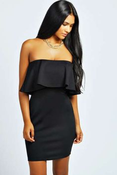 Millie Bandeau Peplum Bodycon Dress at boohoo.com